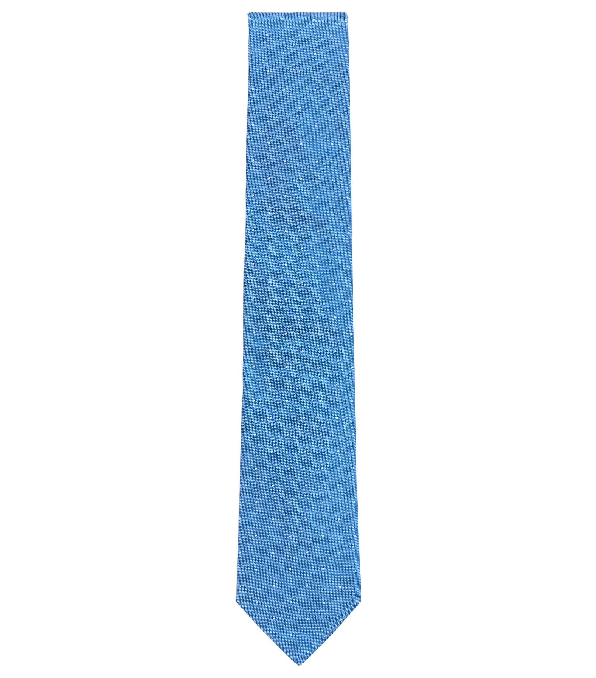 Stropdas van Italiaanse zijden jacquard met gestippeld dessin, Lichtblauw