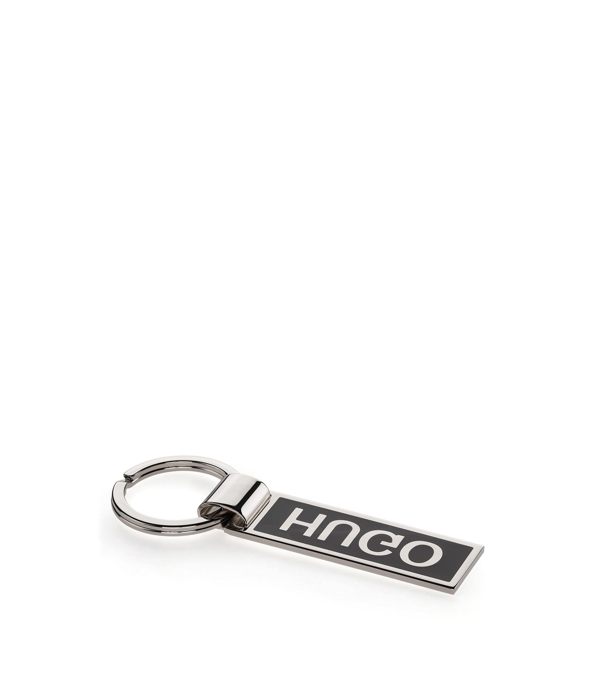 Schlüsselanhänger aus Stahl und Messing mit spiegelverkehrtem Logo, Silber