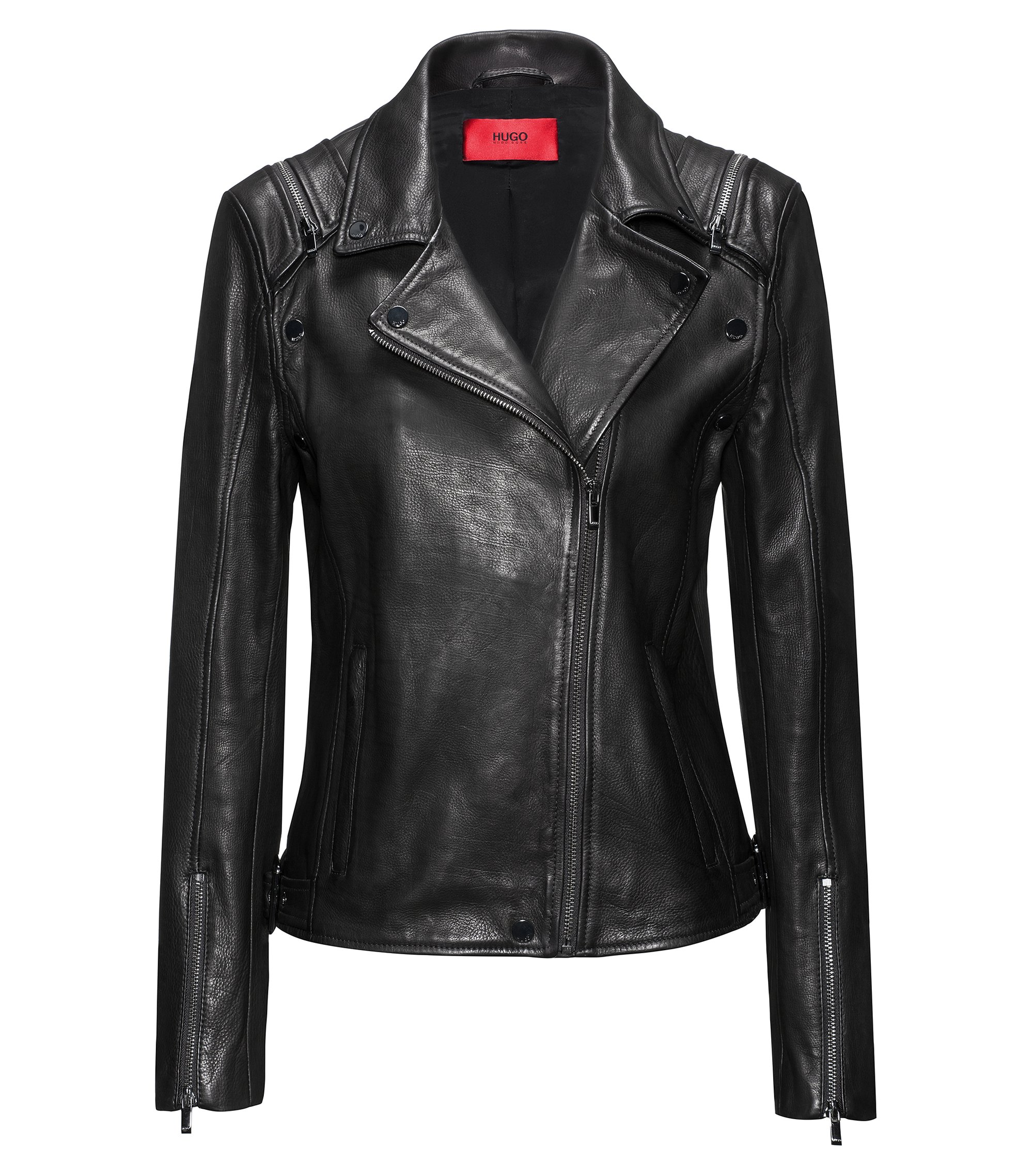 Regular-fit leather jacket with detachable sleeves, Black