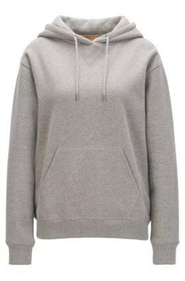 Hooded sweater in a cotton blend, Grey