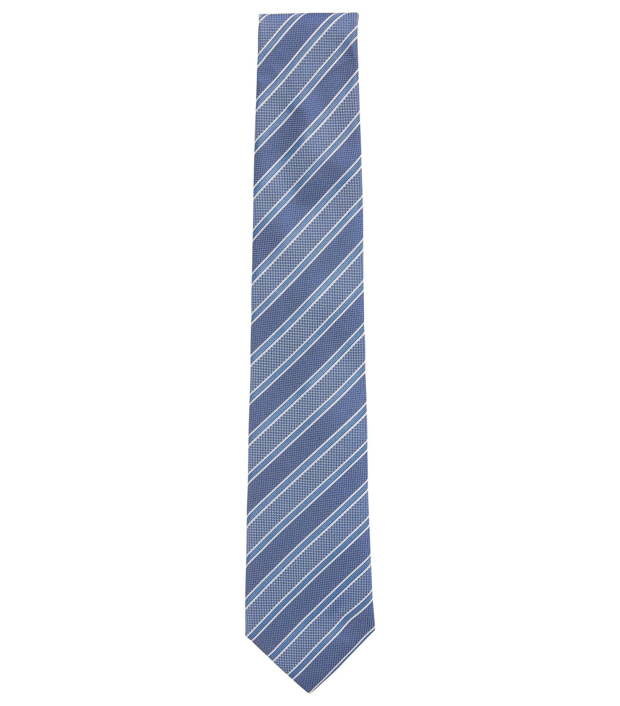 Krawatte aus italienischem Seiden-Jacquard mit diagonalen Streifen, Blau