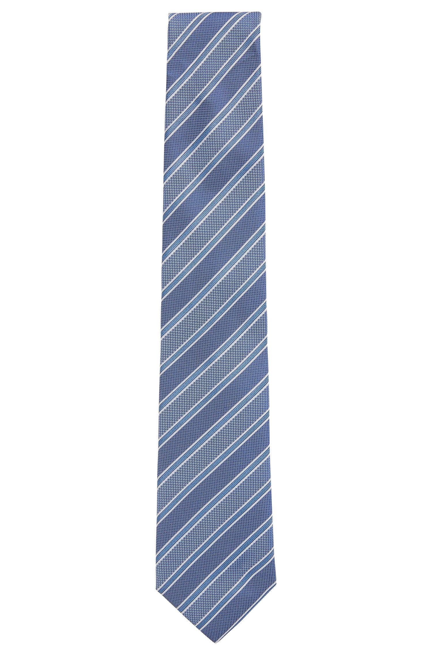 Diagonaal gestreepte stropdas van Italiaanse zijden jacquard