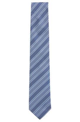 Cravate en jacquard de soie italien à rayures en diagonale, Bleu