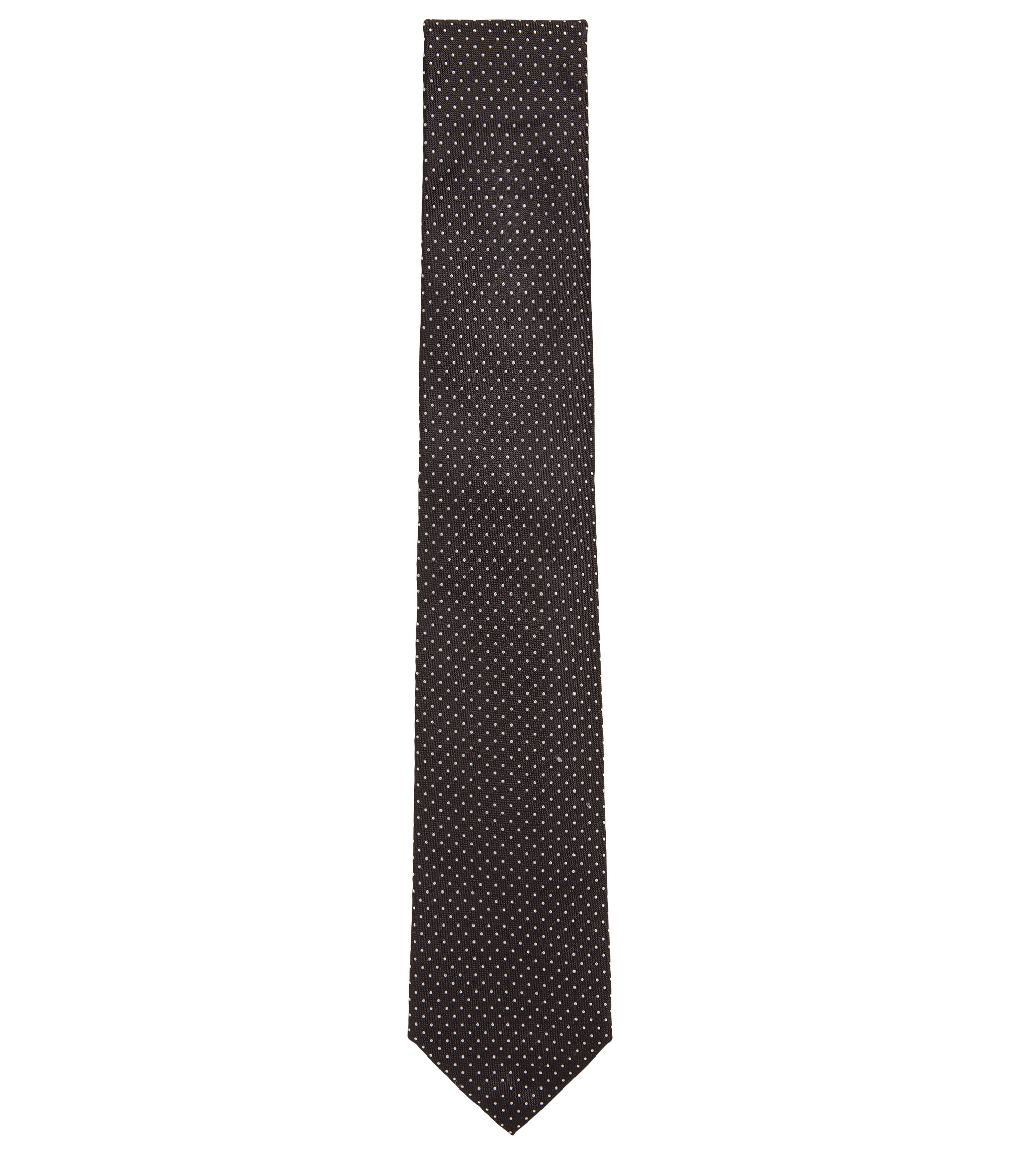 Polka-dot patterned tie in Italian silk jacquard, Black