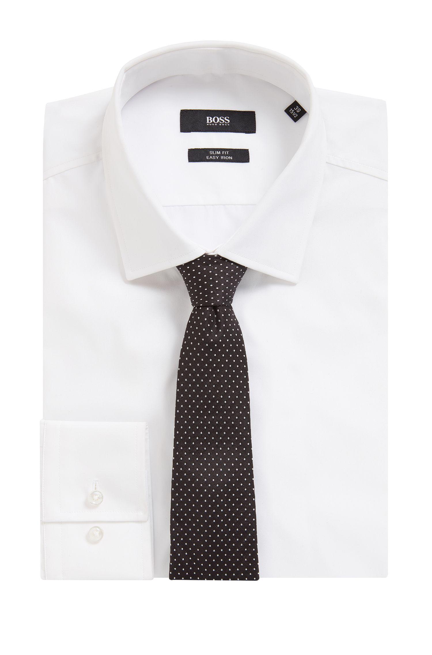 Cravatta in seta jacquard realizzato in Italia con motivo a pois