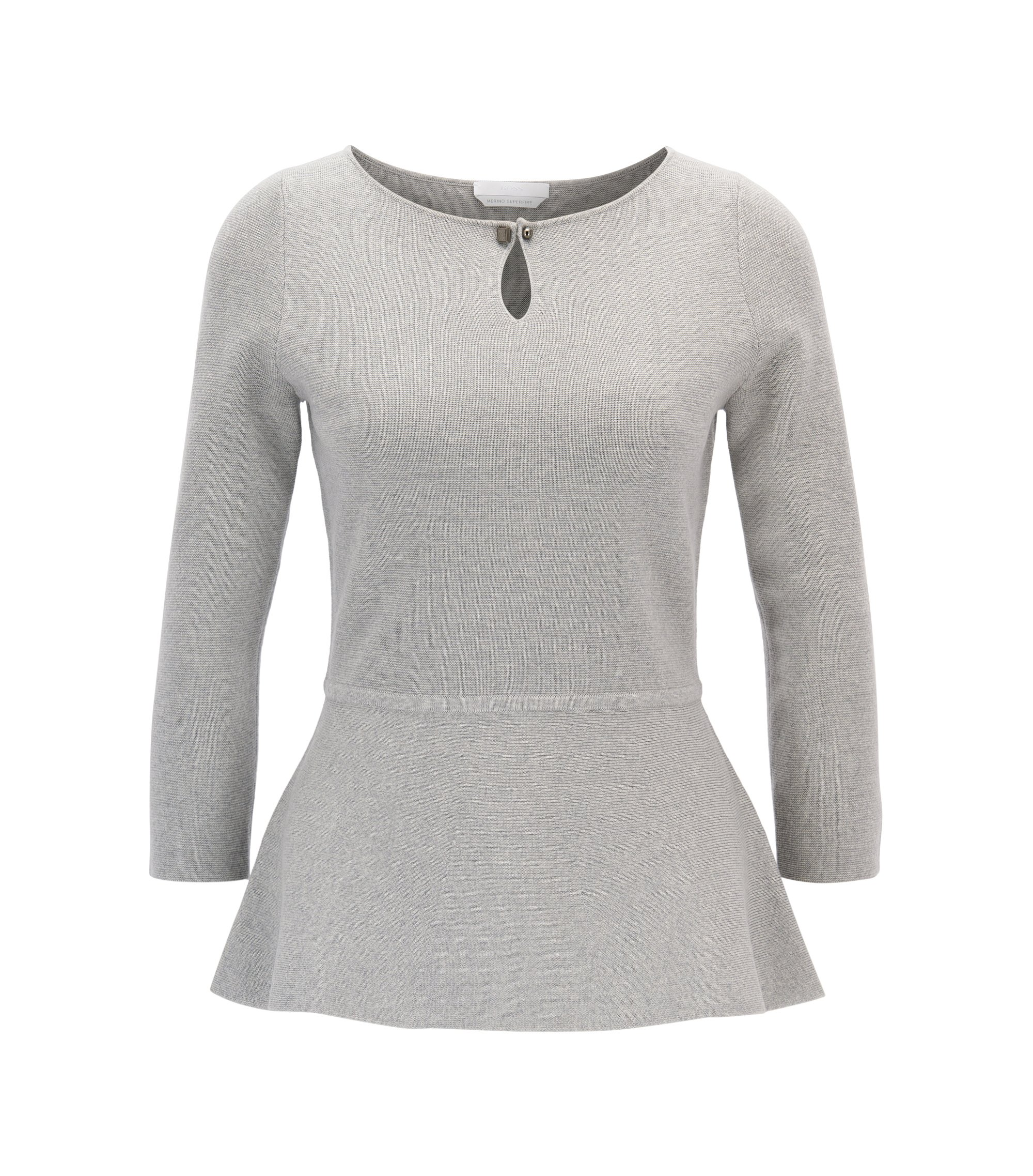 Slim-fit peplum sweater in mercerised virgin wool , Light Grey