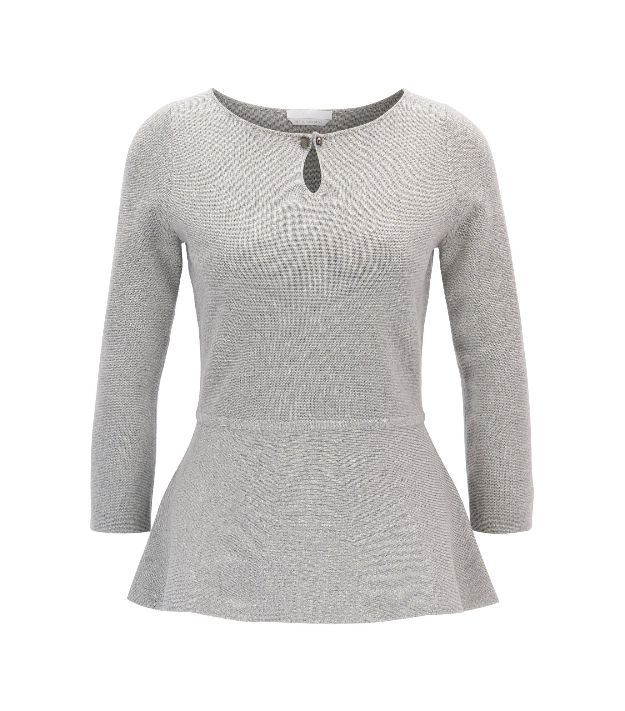 Jersey slim fit con peplo en lana virgen mercerizada , Gris claro
