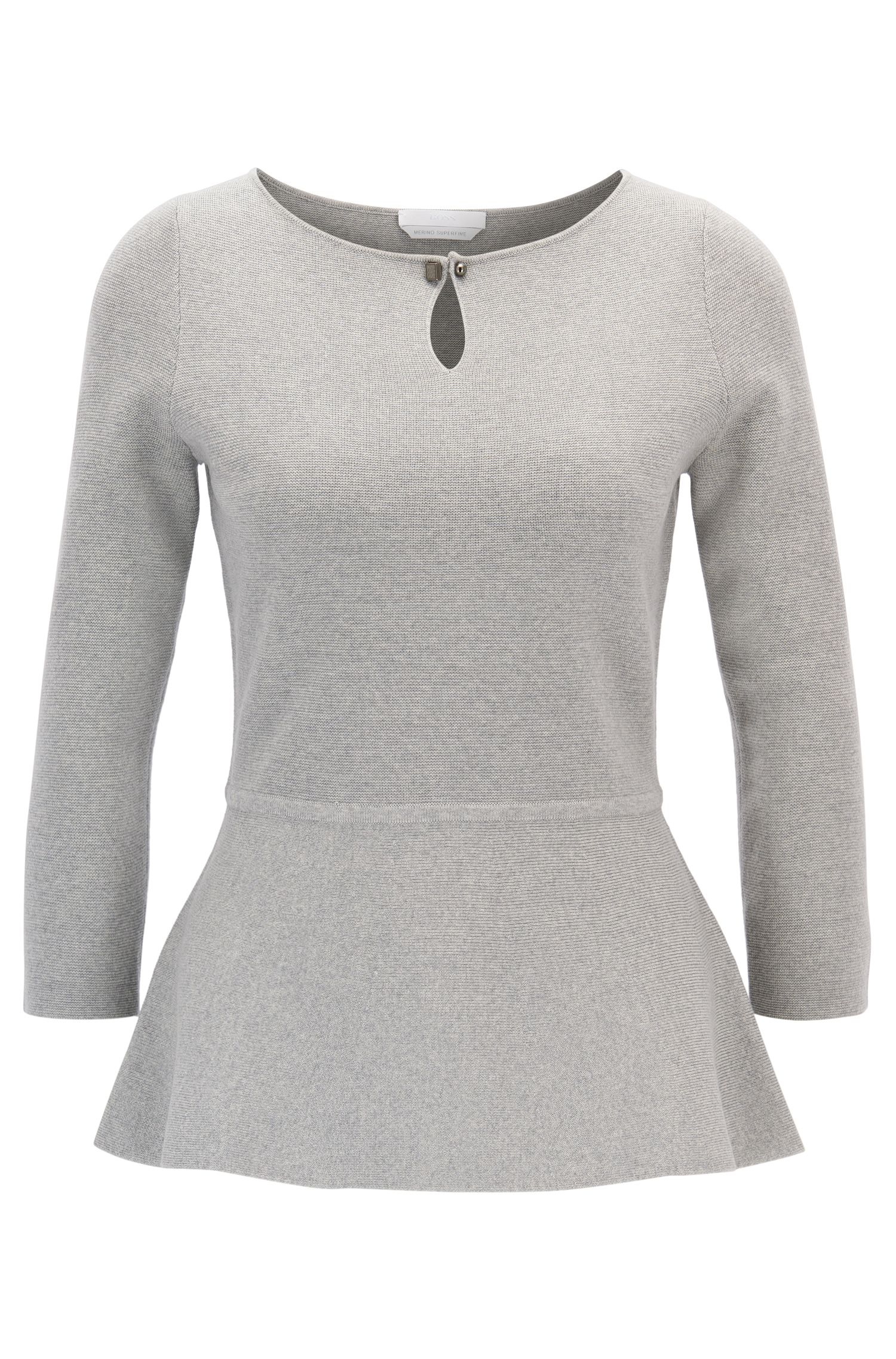 Slim-fit peplum sweater in mercerised virgin wool