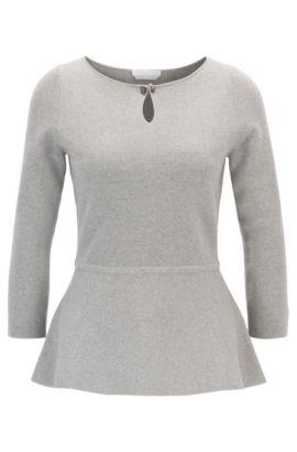 Slim-fit peplum sweater in mercerised virgin wool , Light Grey