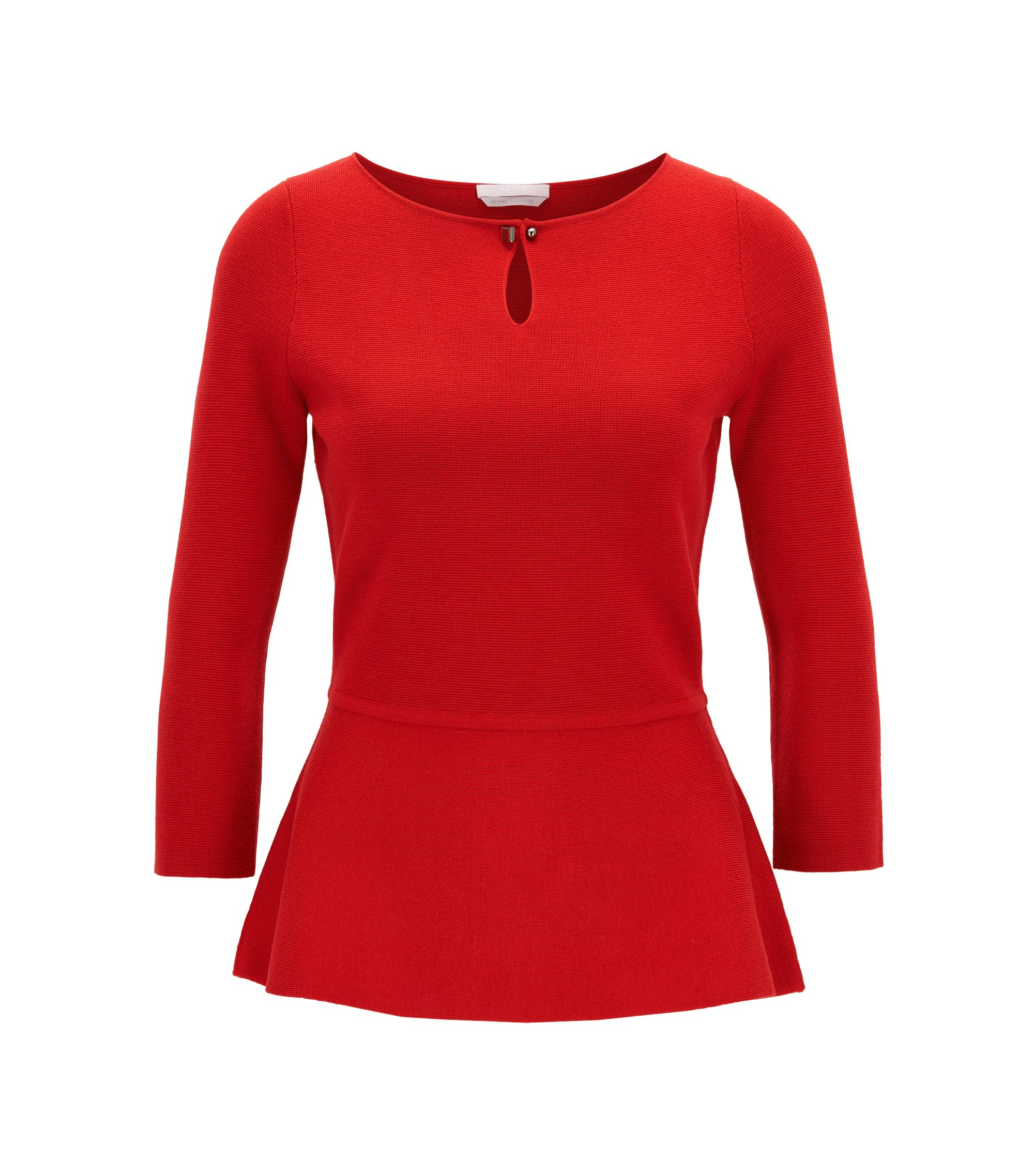 Slim-fit peplum sweater in mercerised virgin wool , Red