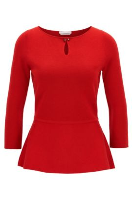 Slim-fit peplum sweater in mercerised virgin wool , Red