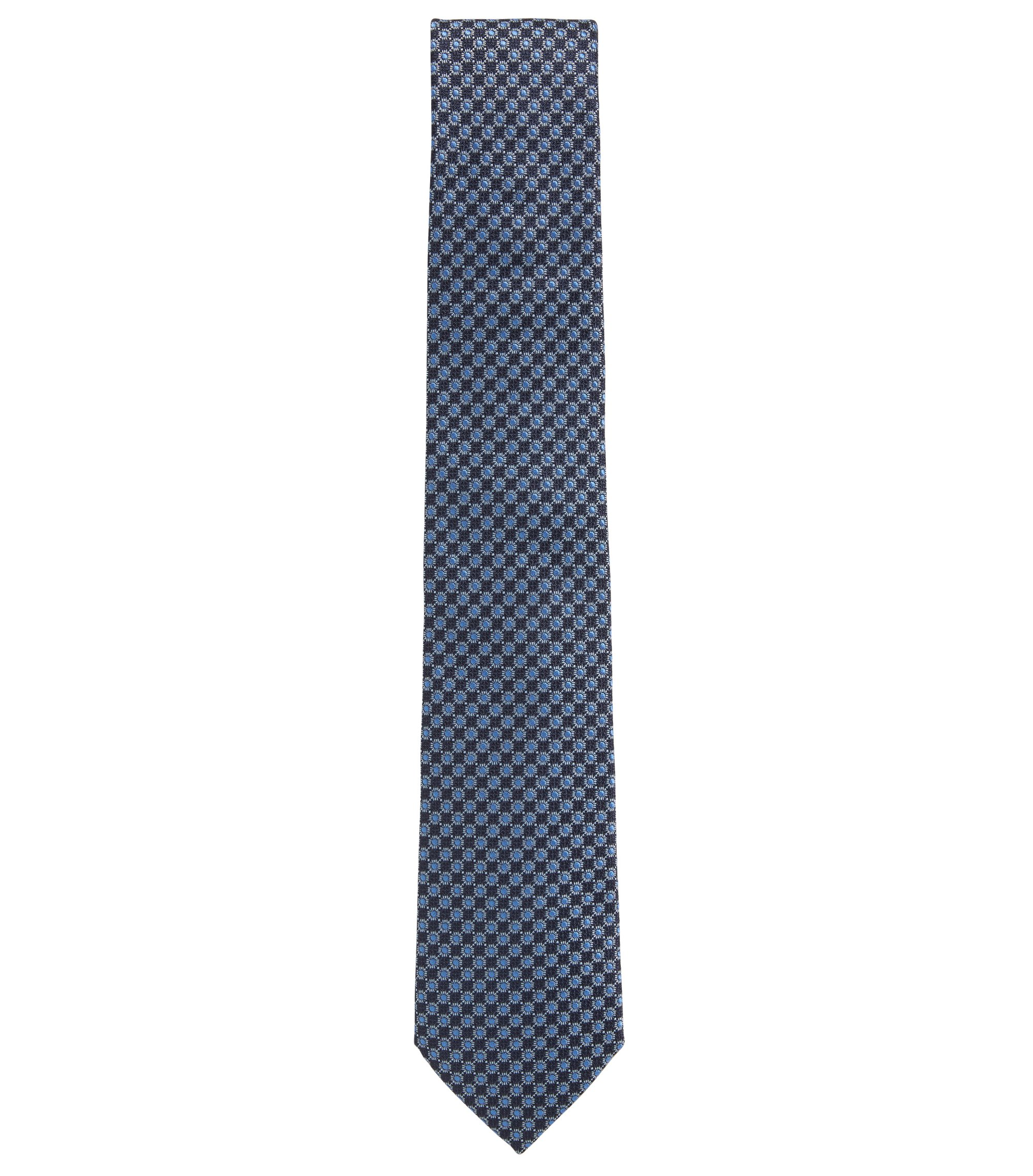 Italian-made tie in patterned silk, Dark Blue
