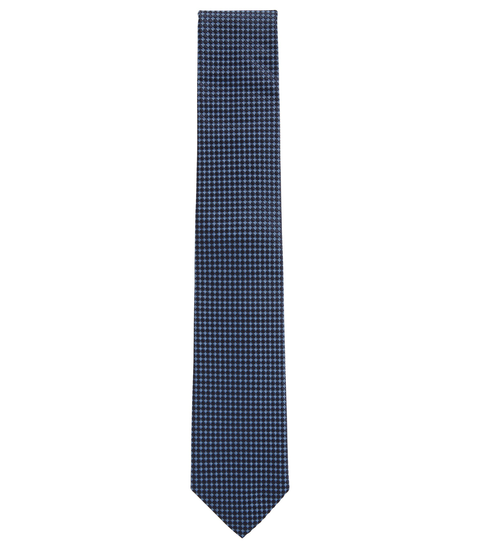 Italian-made tie in patterned silk, Blue