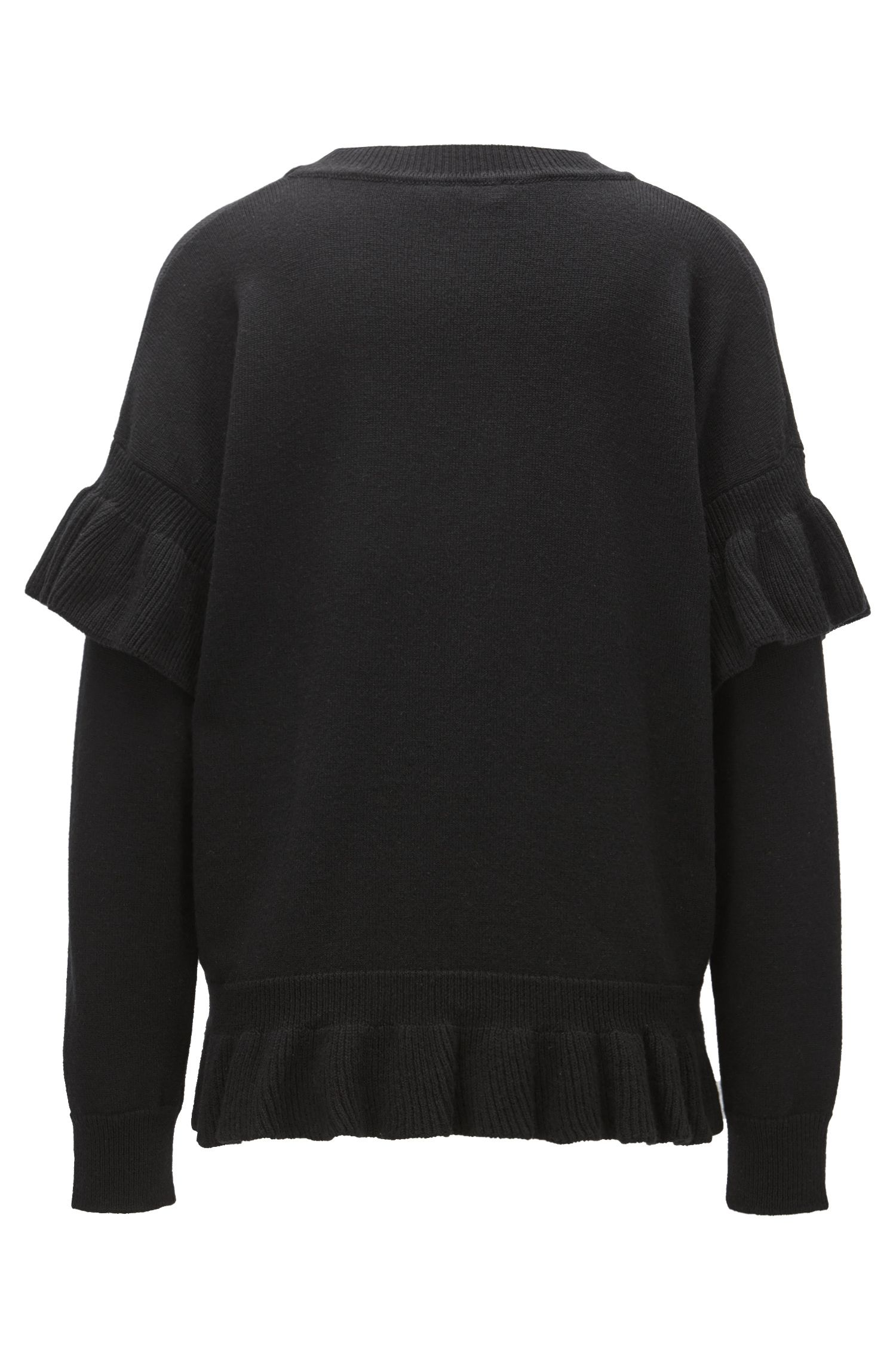 Jersey en mezcla de lana con detalles de volantes