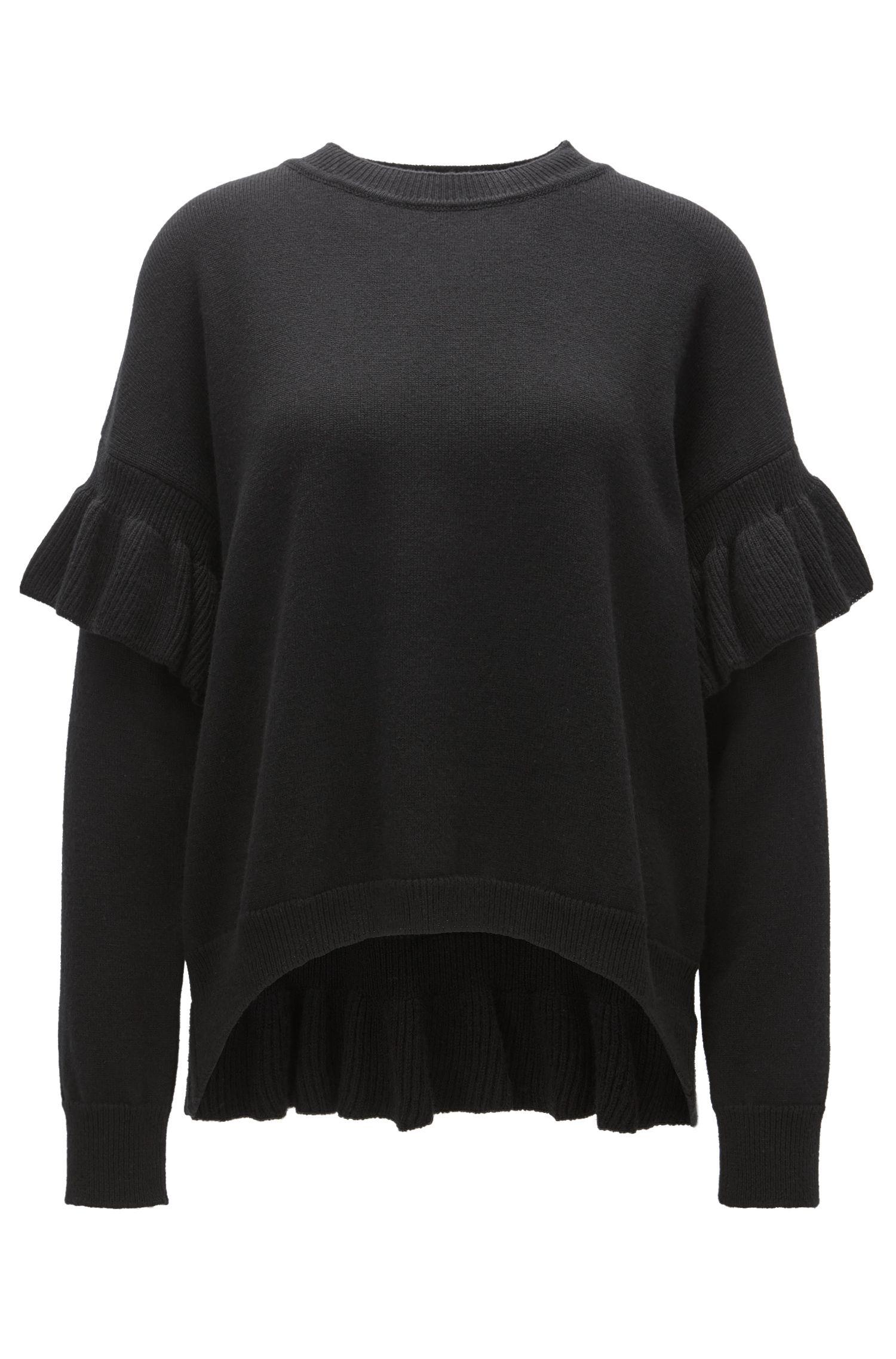 Gerüschter Pullover aus Woll-Mix mit Seide und Kaschmir