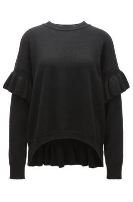 Wool-blend sweater with ruffle details, Black
