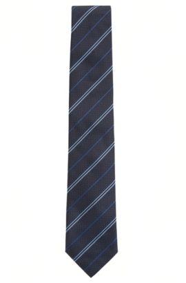 Corbata en jacquard de seda con rayas diagonales, Azul oscuro
