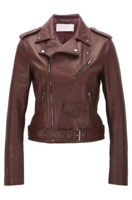 Regular-fit jacket in mixed fabrics, Dark Red