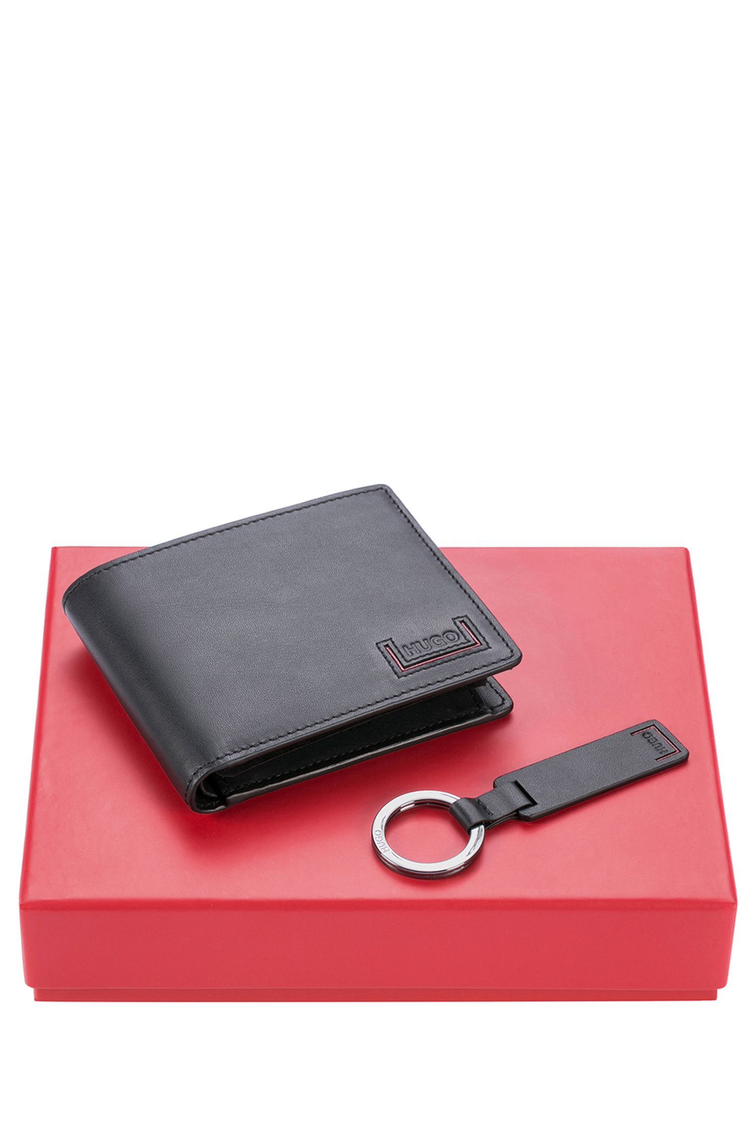 Leather bifold wallet and key ring gift set with logo embossing