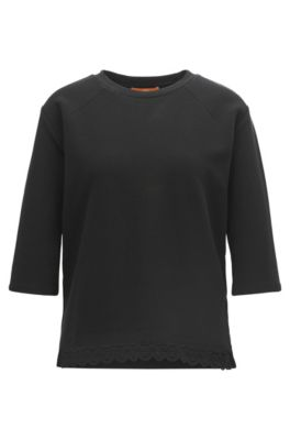 Ottoman jersey top with raglan sleeves and lace hem, Black