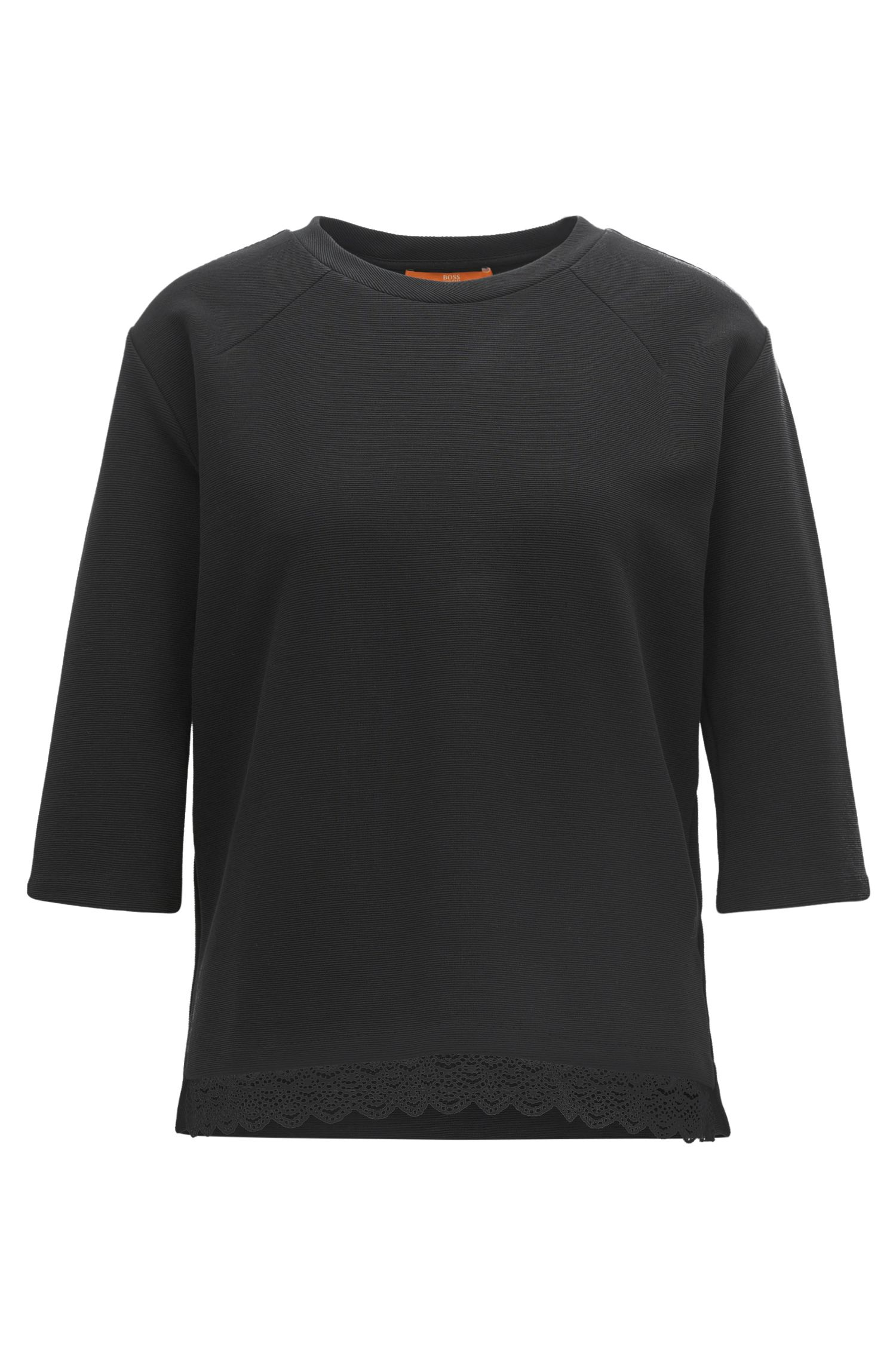 Ottoman jersey top with raglan sleeves and lace hem
