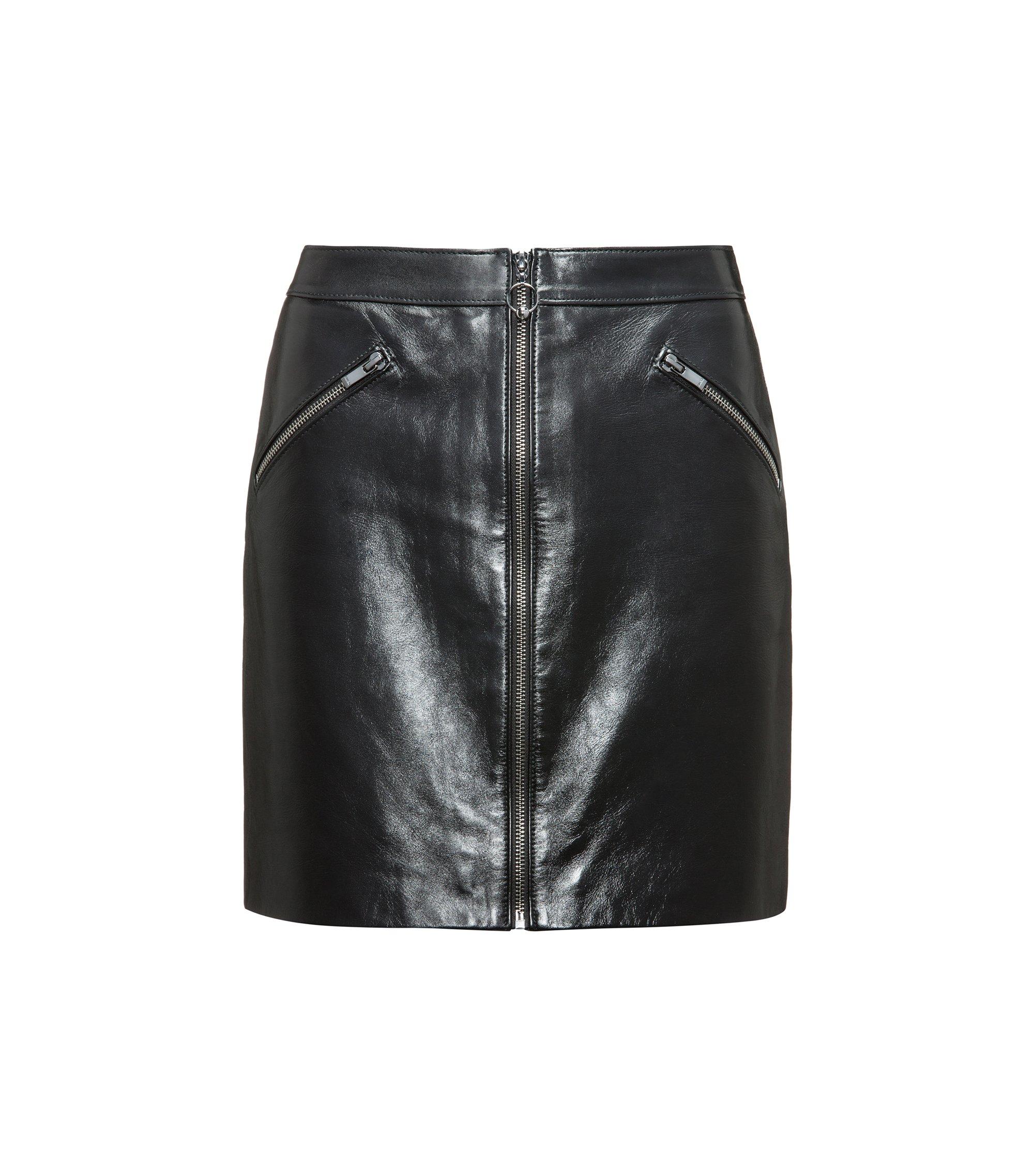 Jupe courte zippée sur le devant en cuir nappa très brillant, Noir