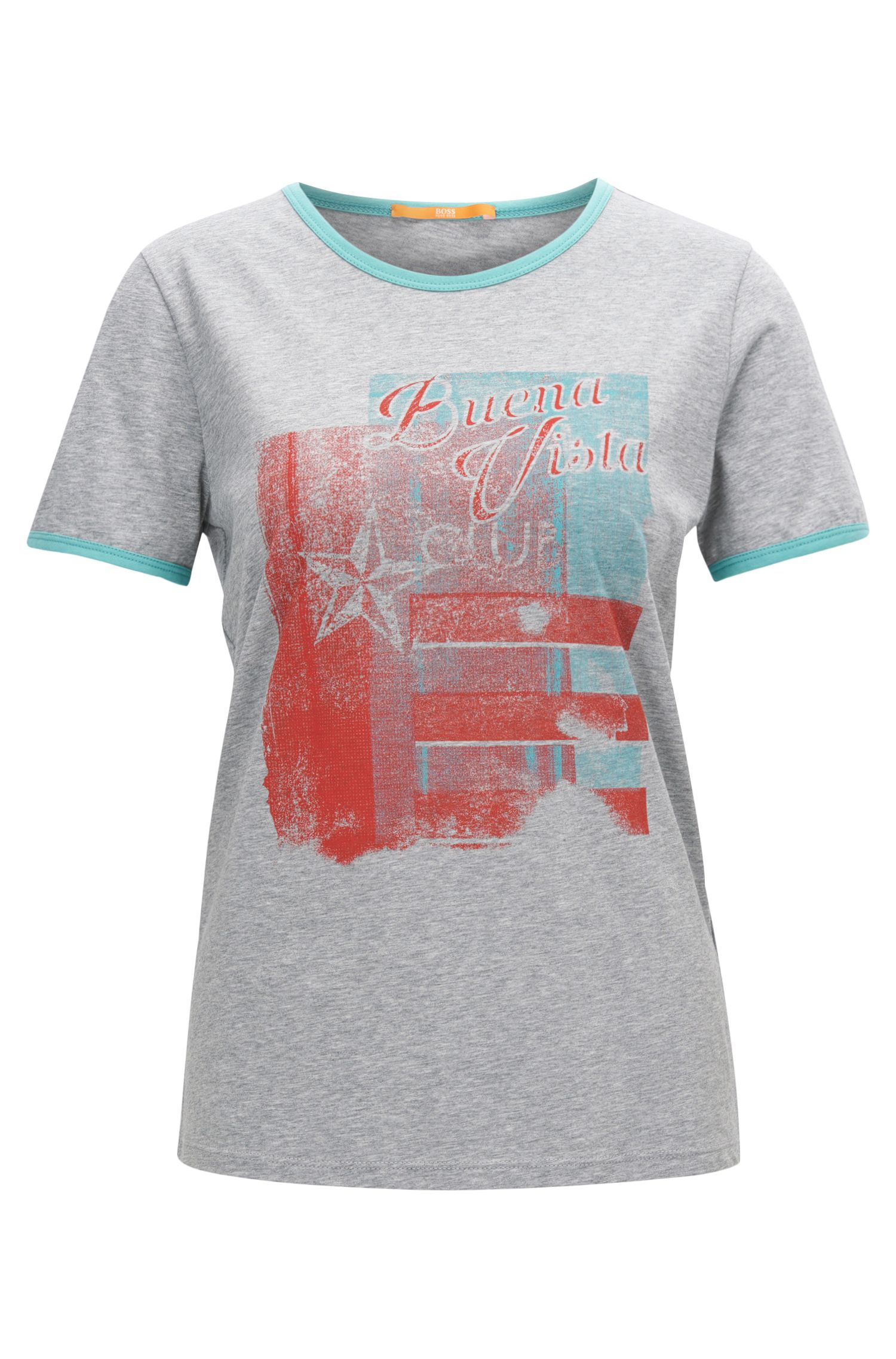 T-shirt slim fit in jersey con stampa rétro e bordi a contrasto