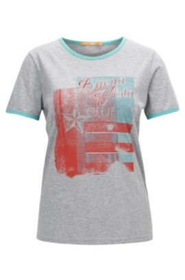 Retro-print slim-fit jersey T-shirt with contrast bindings, Grey