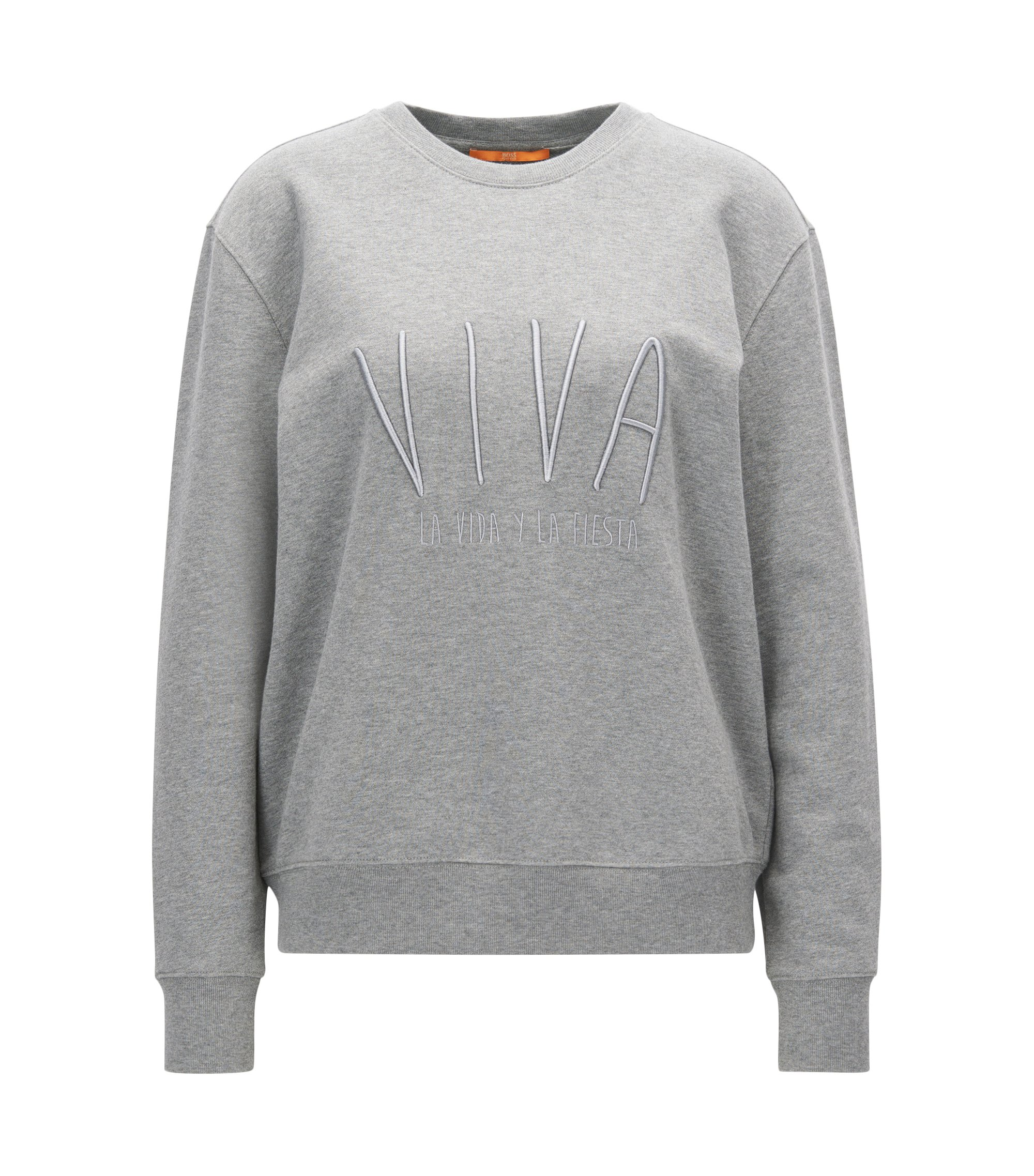 Cotton terry sweatshirt with embroidered slogan, Grey