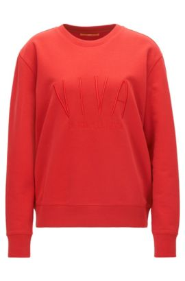 Cotton terry sweatshirt with embroidered slogan, Rouge