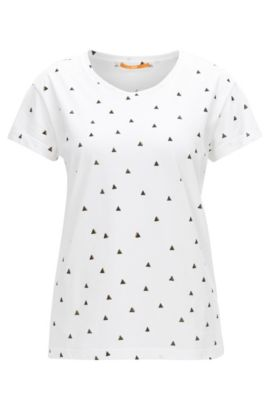 Printed relaxed-fit T-shirt in washed cotton jersey, White