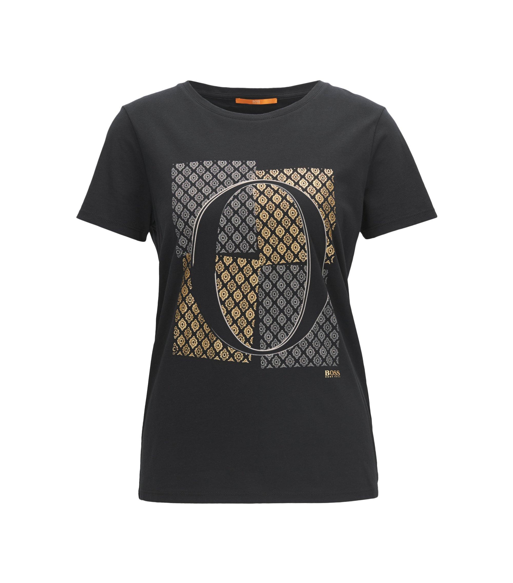 Slim-Fit T-Shirt aus Baumwolle mit O-Print, Schwarz