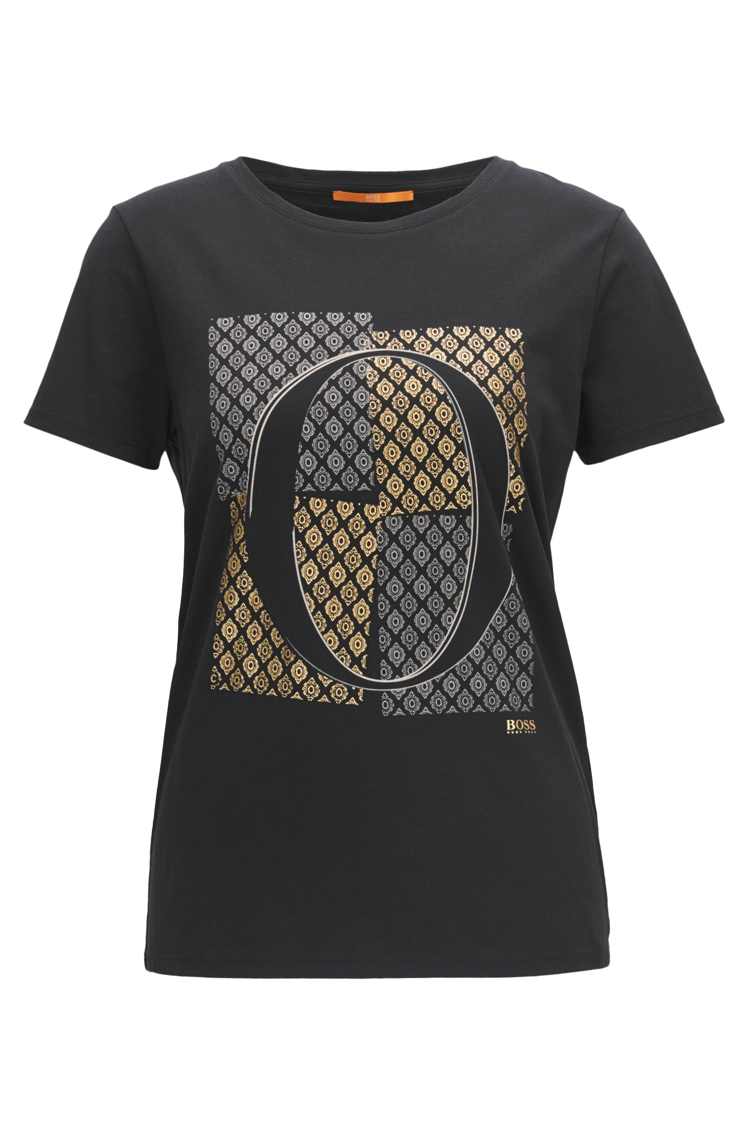 Slim-fit cotton T-shirt with emblem print