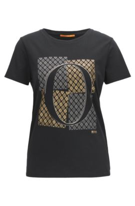 Slim-fit cotton T-shirt with emblem print, Black