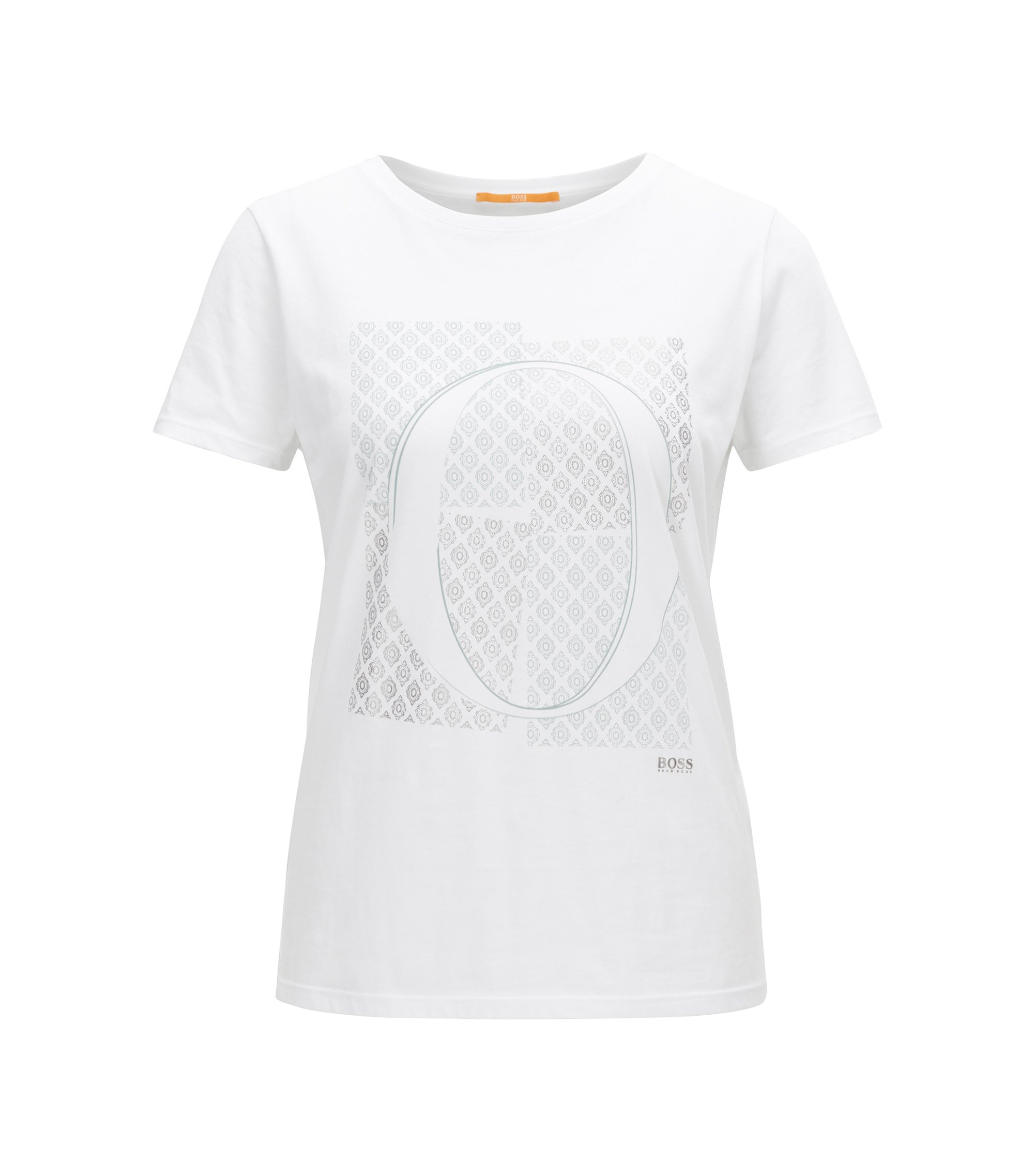 Slim-fit cotton T-shirt with emblem print, White