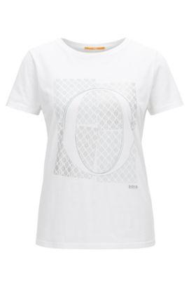 Slim-Fit T-Shirt aus Baumwolle mit O-Print, Weiß