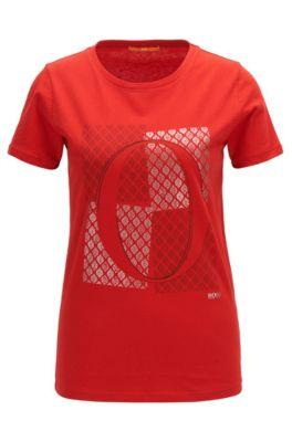 Slim-Fit T-Shirt aus Baumwolle mit O-Print, Rot
