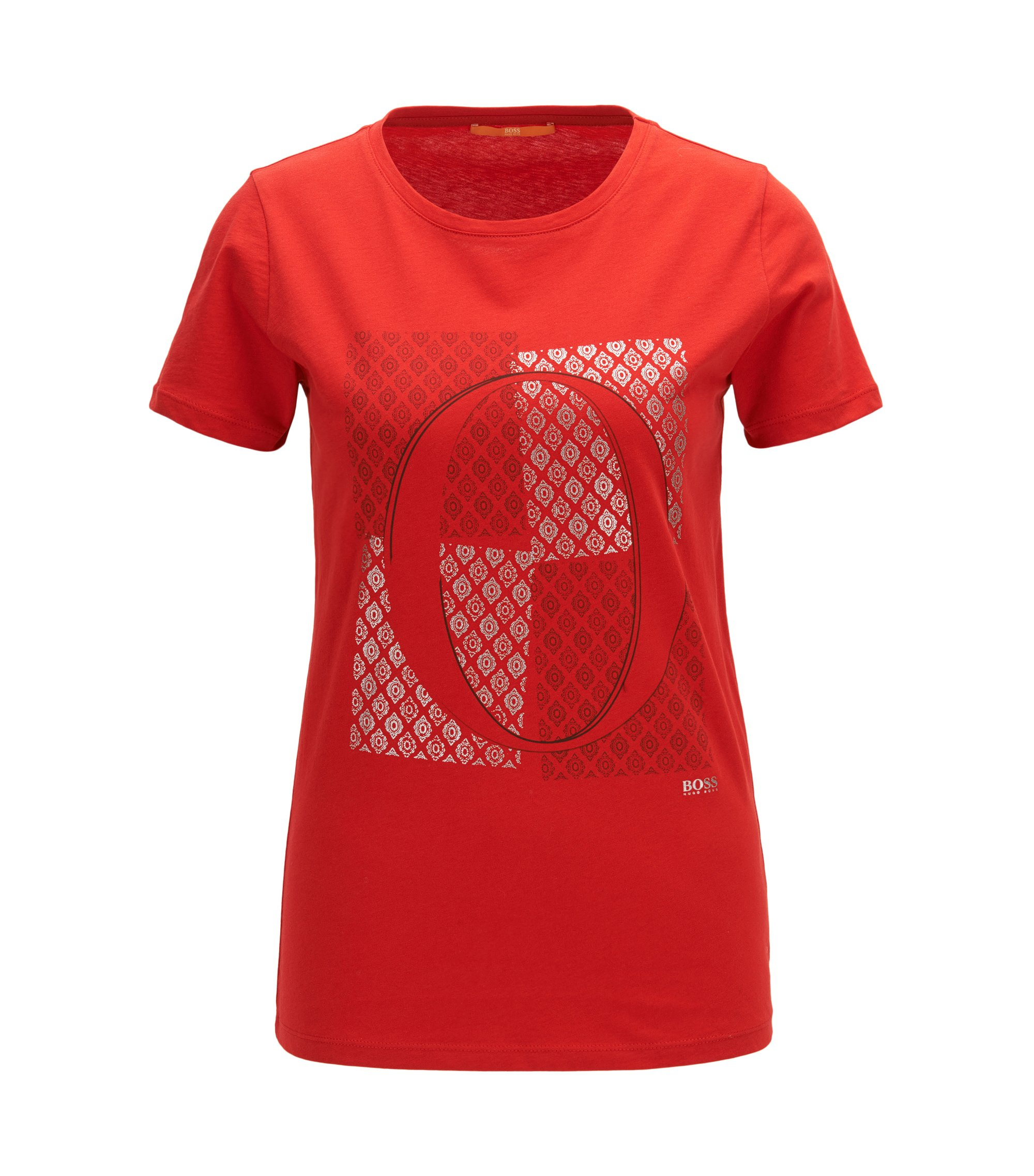 Slim-fit cotton T-shirt with emblem print, Red