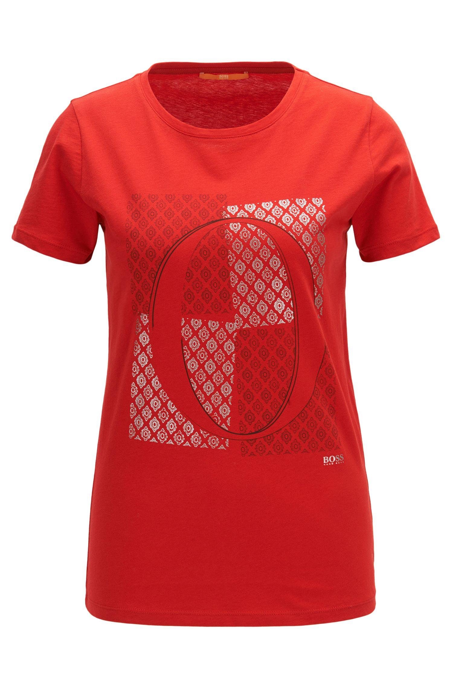 Camiseta slim fit de algodón con estampado de emblema