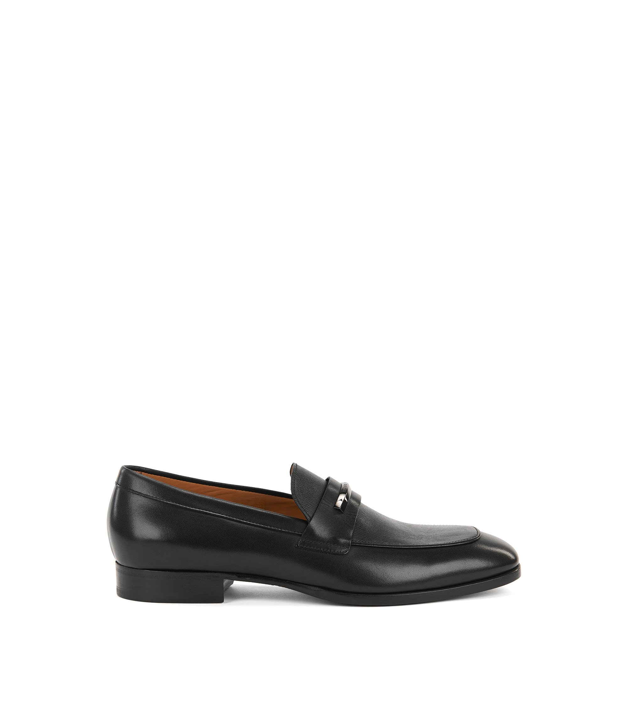 Leather loafers with branded hardware, Black