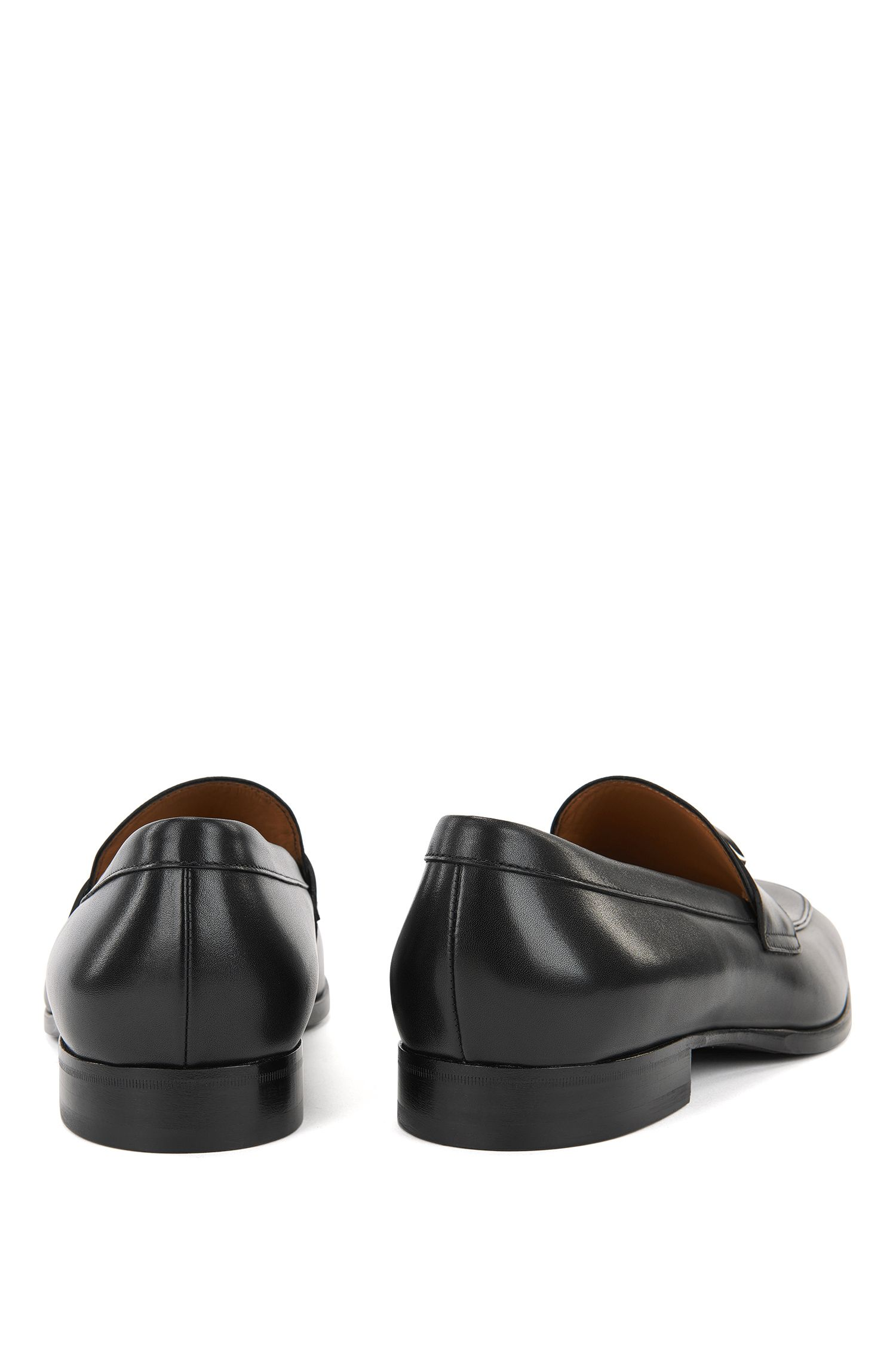 Leather loafers with branded hardware