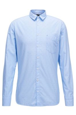 Slim-Fit Hemd aus Baumwolle mit Fil-coupé-Struktur, Hellblau