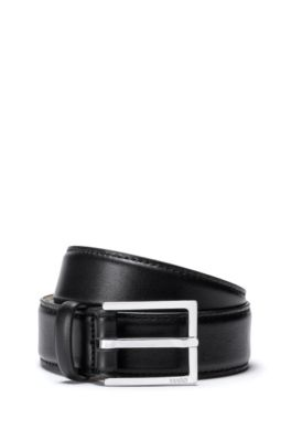 Italian leather belt with polished pin buckle, Black