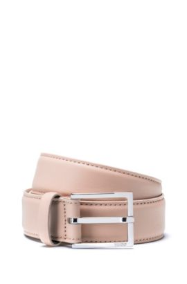 Italian leather belt with polished pin buckle, Light Beige