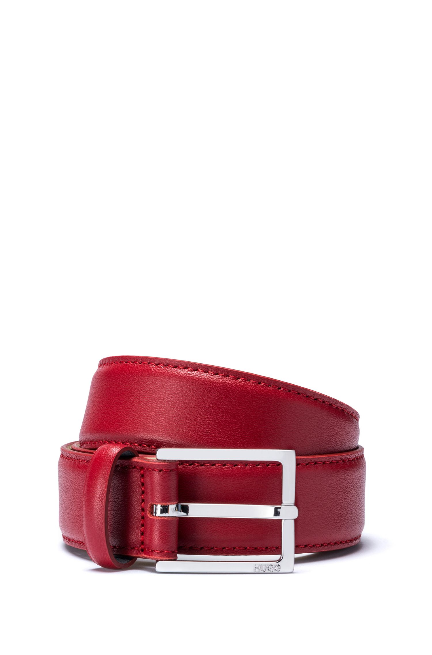 Italian leather belt with polished pin buckle