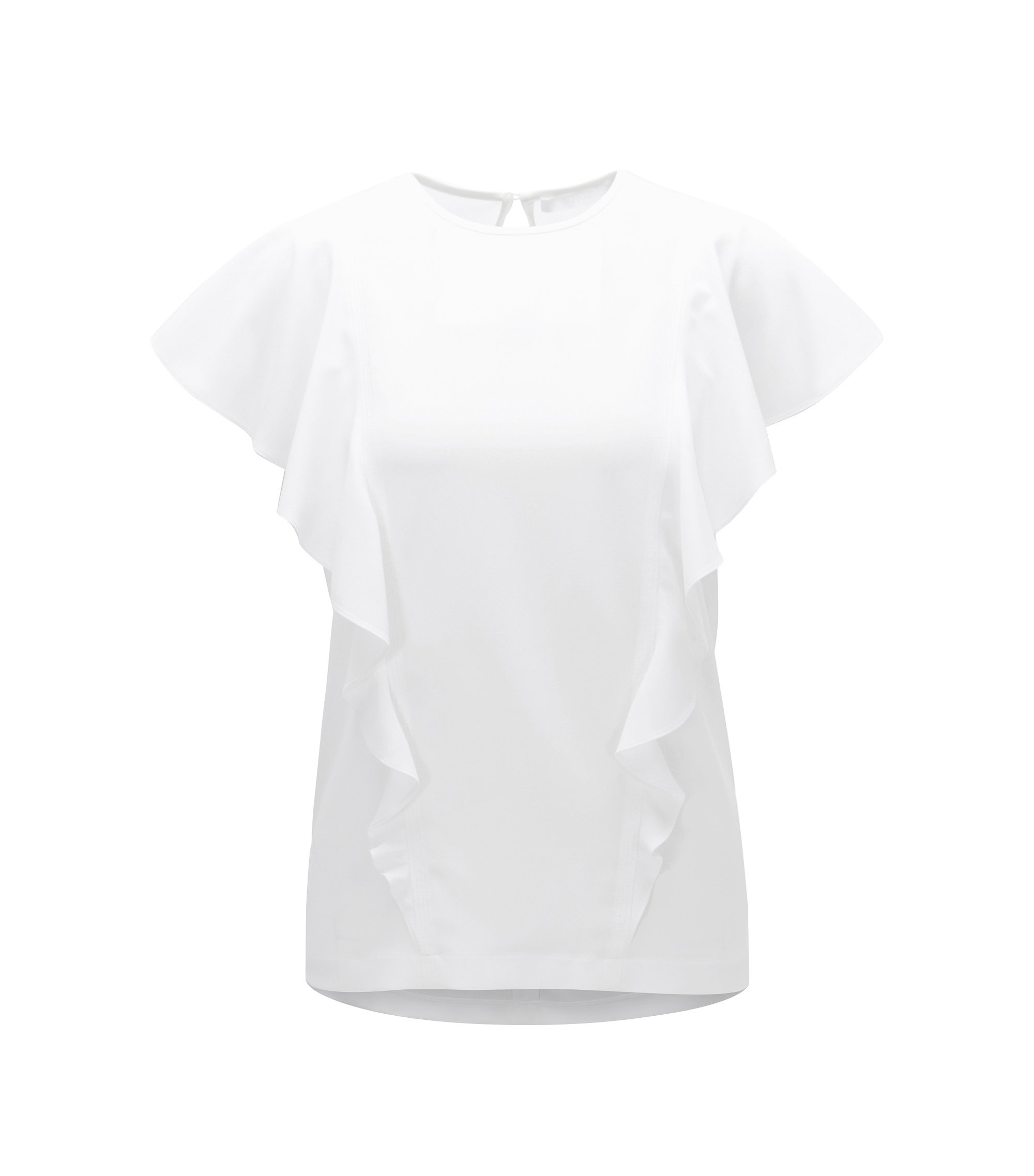 Crinkle-crepe top with bias-cut ruffles, Natural