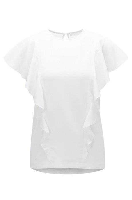 Crinkle-crepe top with bias-cut ruffles BOSS Discount Great Deals Clearance Good Selling QL2a55delK