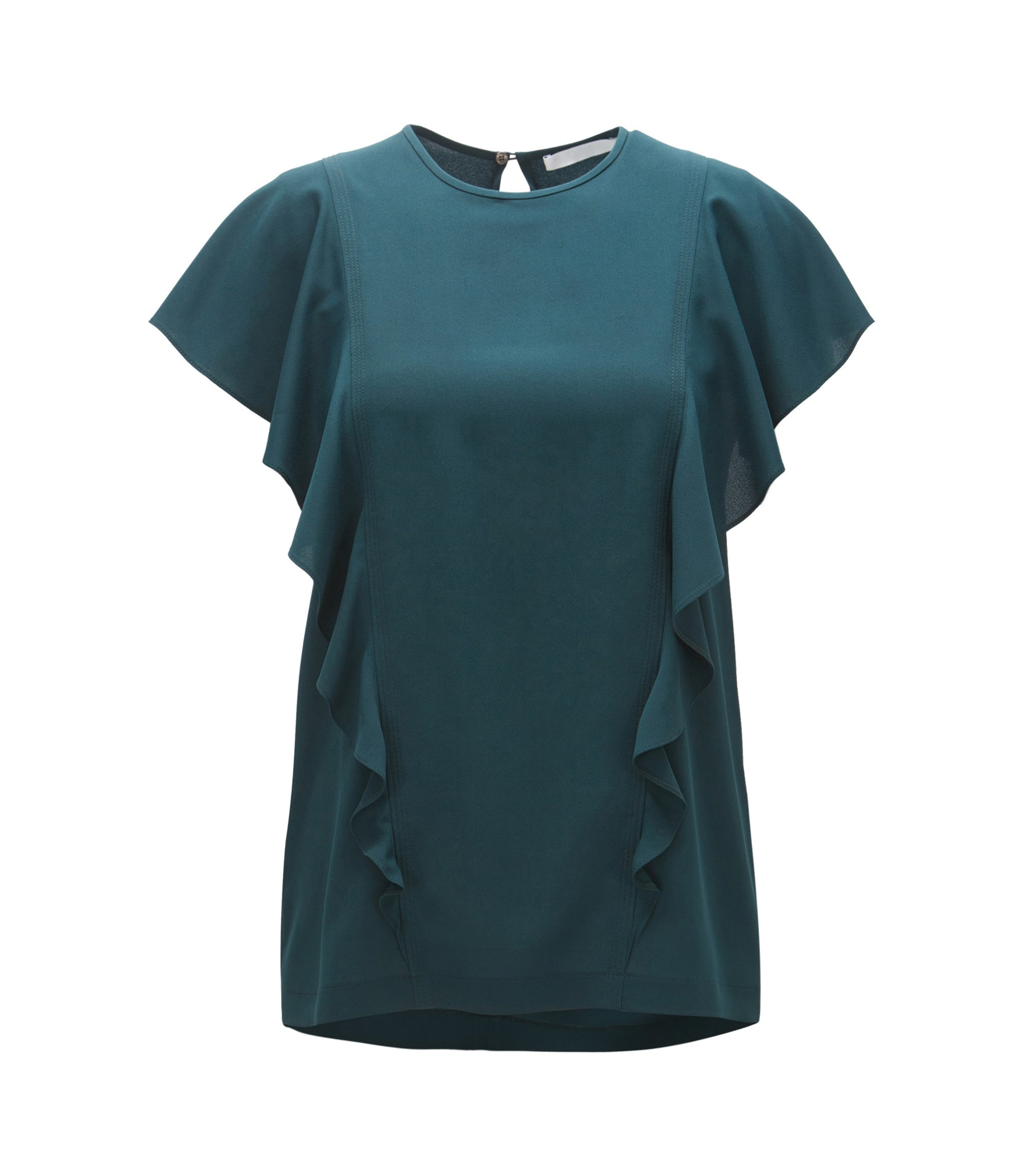 Crinkle-crepe top with bias-cut ruffles, Dark Green
