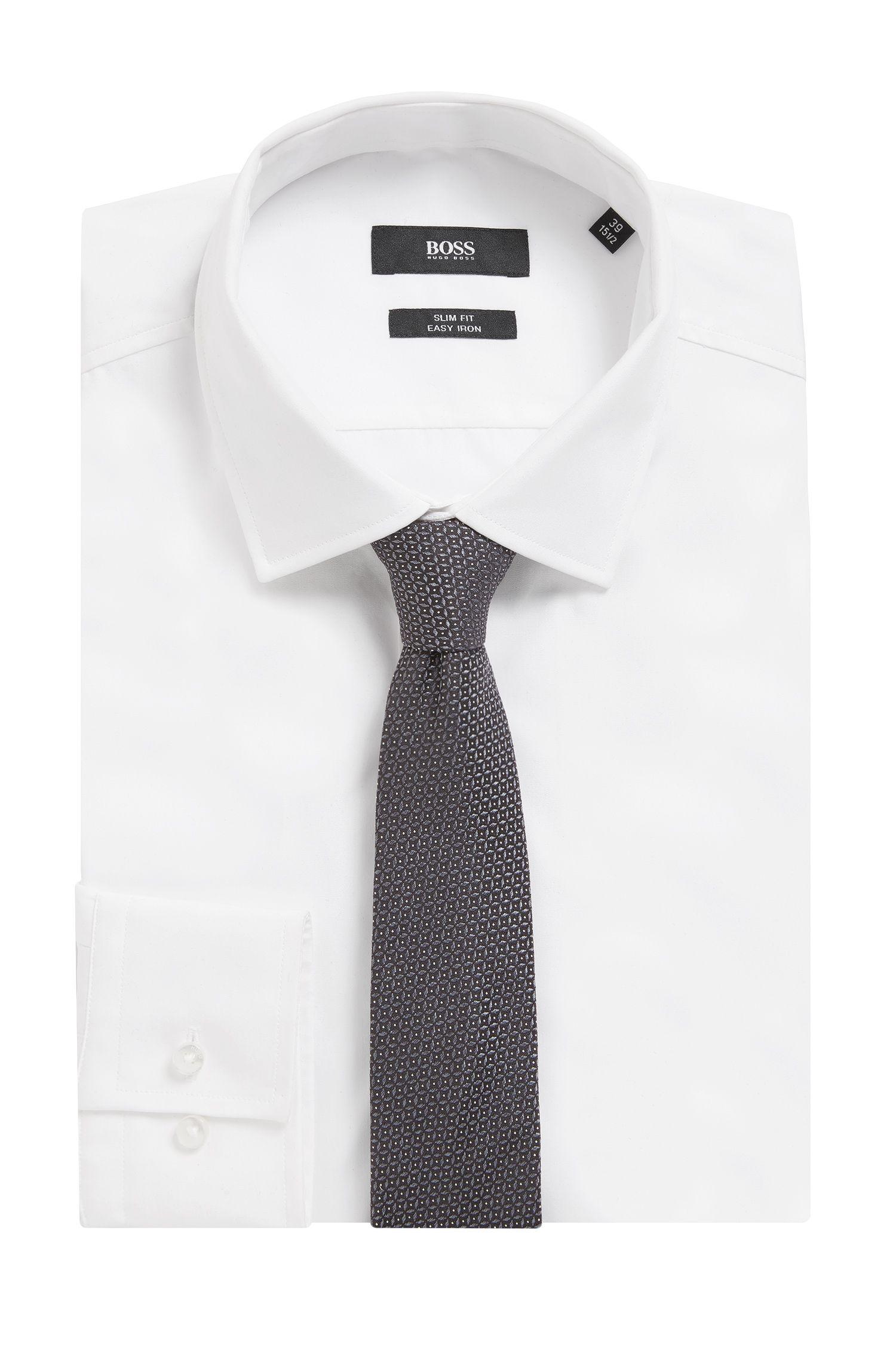 Cravatta in jacquard di seta con microdisegni