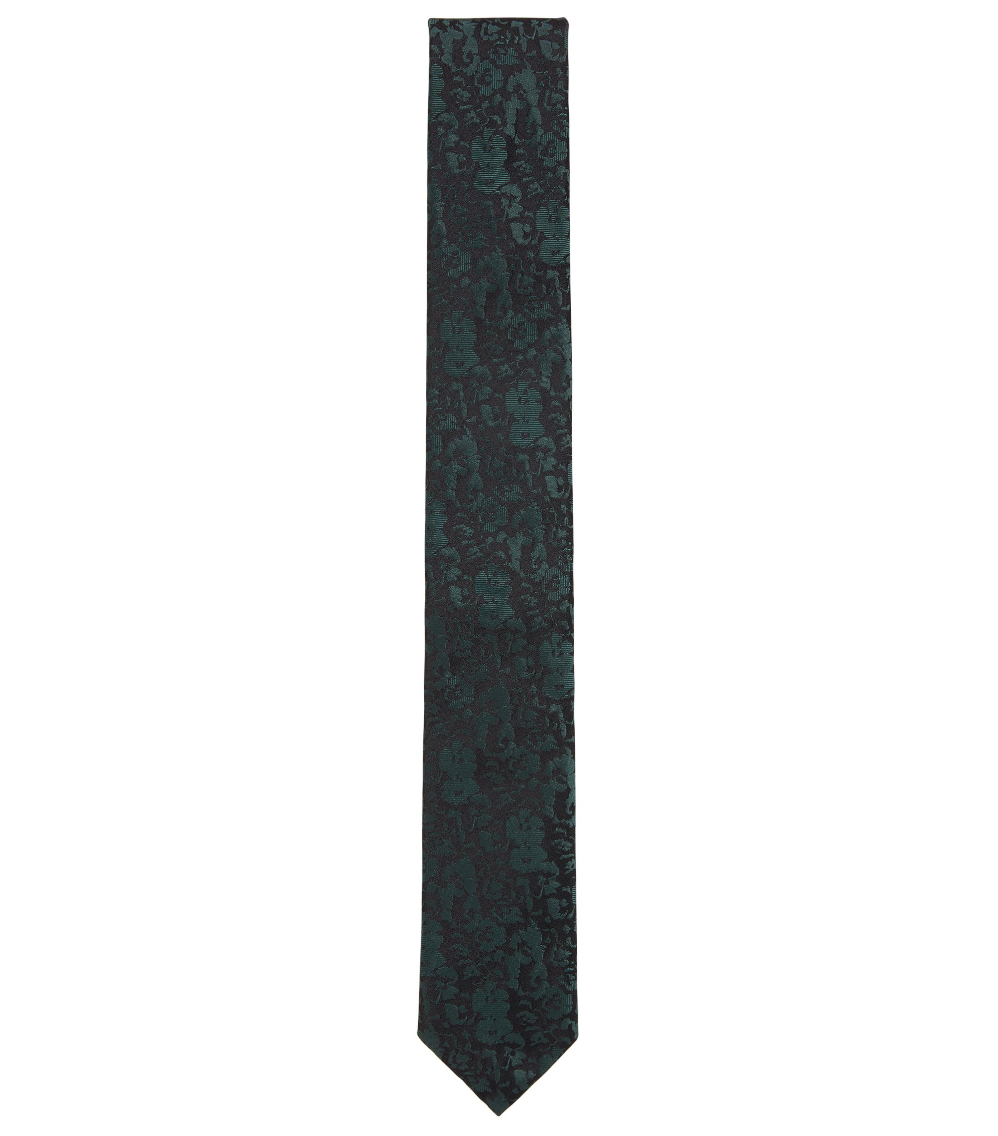Silk jacquard tie with tonal floral effect, Dark Green